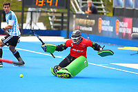 Pakistan goalkeeper Amjad Ali makes a fine save during the Hockey World League Quarter-Final match between Argentina and Pakistan at the Olympic Park, London, England on 22 June 2017. Photo by Steve McCarthy.