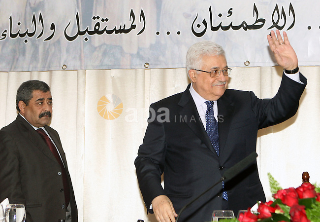 Palestinian President Mahmoud Abbas during his participation in a luncheon hosted by the municipality of Beit Sahour, on the occasion of this Christmas, in Beit Sahour town east of Bethlehem on Jan. 7, 2011. Photo by Thaer Ganaim