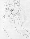 Sketchbook drawing of female figure in profile