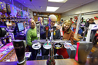 Pictured: Jeremy Corbyn serves a pint to a supporter at Barry Island Sports and Social Club. Saturday 07 December 2019<br /> Re: Labour Party leader Jeremy Corbyn pre-election campaign in Barry, south Wales, UK.