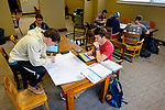 Tom Varner and Daniel Trussell work on a geological engineering class project in Brevard Hall. Photo by Robert Jordan/Ole Miss Communications
