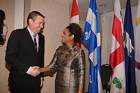 Montreal, CANADA, June, 2015  File Photo<br /> <br /> Christian Paradis, Minister of International Development and La Francophonie (L) and Michaelle Jean (R)<br /> <br /> ,attend the The International Economic Forum of the Americas <br /> <br /> Photo :   Pierre Roussel - AQP