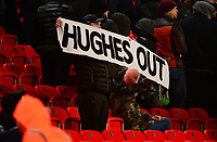 Stoke fans hold up Hughes out Banner during the EPL - Premier League match between Stoke City and Newcastle United at the Britannia Stadium, Stoke-on-Trent, England on 1 January 2018. Photo by Bradley Collyer / PRiME Media Images.
