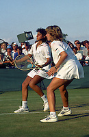 Wimbledon Championships London England 01/07/1987<br /> Steffi Graf (GER) Gabriella Sabatini (ARG)<br /> Photo Roger Parker Fotosports International