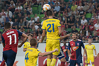 Yegor Filipenko of FC BATE Borsiov goes for a header during the UEFA Europa League match between Hungary's Videoton FC and Belarus' FC BATE Borisov at the Groupama Arena stadium in Budapest, Hungary on Sept. 20, 2018. ATTILA VOLGYI