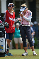 Brooke M. Henderson (CAN) signs golf balls on the tee on 1 during round 4 of the 2019 US Women's Open, Charleston Country Club, Charleston, South Carolina,  USA. 6/2/2019.<br /> Picture: Golffile | Ken Murray<br /> <br /> All photo usage must carry mandatory copyright credit (© Golffile | Ken Murray)