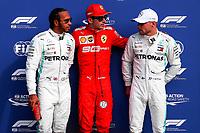 Lewis Hamilton, Mercedes, and Charles Leclerc, Scuderia Ferrari, Valteri Bottas Mercedes<br /> Pole position podium <br /> Italian GP, Monza 5-8 September 2019<br /> Monza 07/09/2019 GP Italia <br /> Formula 1 Championship 2019 <br /> Photo Federico Basile / Insidefoto