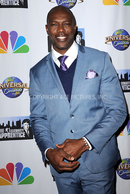 WWW.ACEPIXS.COM<br /> February 16, 2015 New York City<br /> <br /> Terrell Owens arriving to the Celebrity Apprentice Finale viewing party and post show red carpet on February 16, 2015 in New York City.<br /> <br /> Please byline: Kristin Callahan/AcePictures<br /> <br /> ACEPIXS.COM<br /> <br /> Tel: (646) 769 0430<br /> e-mail: info@acepixs.com<br /> web: http://www.acepixs.com