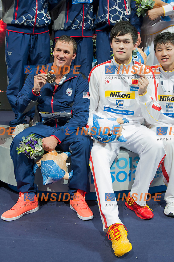 Team USA gold medal, team RUSSIA silver medal, team CHINA bronze medal - Ryan Lochte and Sun Yang<br /> Men's 200m freestyle relay final<br /> 15th FINA World Aquatics Championships<br /> Palau Sant Jordi, Barcelona (Spain) 02/08/2013 <br /> &copy; Giorgio Perottino / Deepbluemedia.eu / Insidefoto