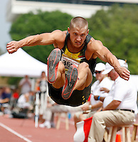 Trey Hardee of Nike leaped to a mark of 7.23m in the long jump at the Texas Relays on Wednesday, April 2nd. 2008. Hardee leads the Decathlon after day one with 4212 points. Photo by Errol Anderson, The Sporting Image, The Sporting Image.