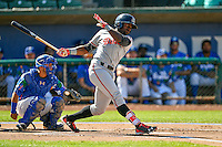 Taylor Trammell (18) of the Billings Mustangs at bat against the Ogden Raptors in Pioneer League action at Lindquist Field on August 14, 2016 in Ogden, Utah. Ogden defeated Billings 15-9. (Stephen Smith/Four Seam Images)