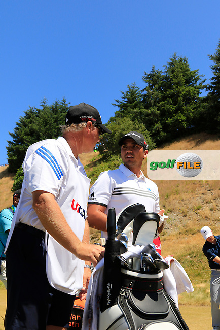 Jason DAY (AUS) and caddy Colin Swatton after teeing off the 8th tee during Friday's Round 2 of the 2015 U.S. Open 115th National Championship held at Chambers Bay, Seattle, Washington, USA. 6/19/2015.<br /> Picture: Golffile | Eoin Clarke<br /> <br /> <br /> <br /> <br /> All photo usage must carry mandatory copyright credit (&copy; Golffile | Eoin Clarke)