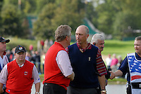 September 24th, 2006. European. Ryder Cup team captain Ian Woosnam and USA team captain Tom Lehman during the singles final session of the last day of the 2006 Ryder Cup at the K Club in Straffan,. County Kildare in the Republic of Ireland...Photo: Eoin Clarke/ Newsfile..