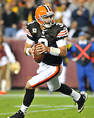 Landover, MD - October 19, 2008 -- Cleveland Browns quarterback Derek Anderson (3) looks down field for a receiver as he rolls out late in the fourth quarter against the Washington Redskins at FedEx Field in Landover, Maryland on Sunday, October 19, 2008.  The Redskins won the game 14 - 11..Credit: Ron Sachs / CNP