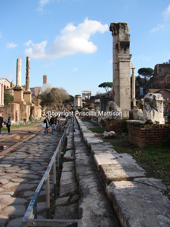 Rome, Italy - January 27, 2007:  Steps and a walkway recede into the distance past standing ruins in the Roman Forum.