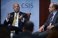 Washington, DC - October 9, 2014: U.S. Secretary of Homeland Security, Jeh Johnson (l), responds to an audience question about border security and immigration at the Center for Strategic and International Studies in the District of Columbia, October 9, 2014, as CSIS Senior Advisor Juan Zarate looks on.  (Photo by Don Baxter/Media Images International)