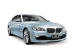 Blue 2014 BMW 750Li XDrive sedan luxury car isolated on white background with clipping path