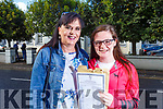 Dearbhla and Mary Quirke from Tralee delighted with her results of the Junior Cert in Gaelcholaiste Chiarrai on Wednesday morning.