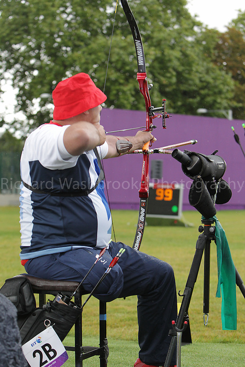 Paralympics London 2012 - ParalympicsGB - Archery Mens Individual Recurve - Standing  30th August 2012.  .Phil Bottomley, competing in the mens Archery Individual Recurve - Standing Heats at the Paralympic Games in London. Photo: Richard Washbrooke/ParalympicsGB