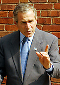 United States President George W. Bush makes a statement to the Travel Pool at the Nebraska Avenue Homeland Security Complex following his tour in Washington, DC on 19 September, 2002. <br /> Credit: Ron Sachs / Pool via CNP