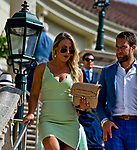 HALLANDALE BEACH, FL - JANUARY 27: A woman in a green fashionable green dress on  Pegasus World Cup Invitational Day at Gulfstream Park Race Track on January 27, 2018 in Hallandale Beach, Florida. (Photo by Scott Serio/Eclipse Sportswire/Getty Images)