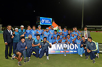 A victorious Indian U19 Cricket Team celebrate with the trophy after their win over Australia during the ICC U-19 Cricket World Cup 2018 Finals between India v Australia, Bay Oval, Tauranga, Saturday 03rd February 2018. Copyright Photo: Raghavan Venugopal / © www.Photosport.nz 2018 © SWpix.com (t/a Photography Hub Ltd)