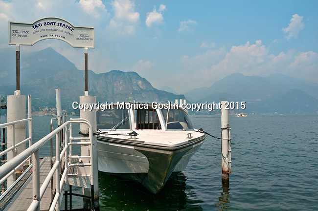 Water taxi boat service dock at Bellagio, Italy on Lake Como