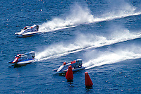 Cees van der Velden (#1), Ben Robertson (#57) and Don Jenkinson (#12) USFORA Formula One (F1) Tunnel Boats, Cincinnati, Ohio 1988