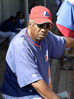 April 1, 2004:  Hall of Fame member, Manager Frank Robinson of the Montreal Expos (Washington Nationals) organization during Spring Training at Osceola County Stadium in Kissimmee, FL.  Photo copyright Mike Janes/Four Seam Images
