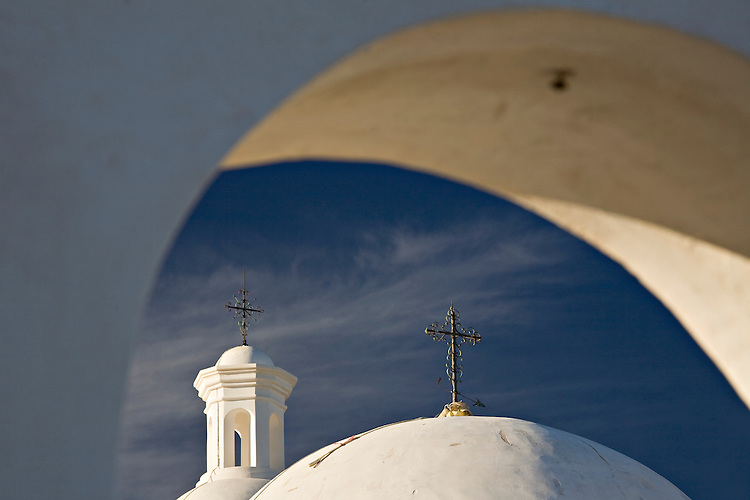 Church tower and dome of the San Xavier del Bac Mission near Tucson, Arizona