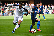 February 2nd 2019, San Jose, California, USA; USA midfielder Paul Arriola (14) in action against Costa Rica forward Jonathan McDonald (9) during the international friendly match between USA and Costa Rica at Avaya Stadium on February 2, 2019 in San Jose CA.