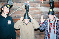 From left, Alan Clement, Damian Thorne, and Nick Belisle, all of Rochester, NH, wait for the arrival of Satirical presidential candidate Vermin Supreme before a stump speech at Ten Rod Farm in Rochester, New Hampshire. The three said they are supporters of Vermin Supreme. Supreme's platform advocates a pony-based economy, using zombies to solve the energy crisis, and other outlandish ideas. Supreme has been on the New Hampshire primary ballot in 2008 and 2012, though he began running for president in 1992. Vermin Supreme will be on the Democratic party ballot in the 2016 New Hampshire primary.