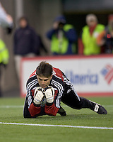 Houston Dynamo goalkeeper Pat Onstad (18) covers a cross. The New England Revolution defeated the Houston Dynamo 3-0 in their Major League Soccer home opener at Gillette Stadium in Foxborough, Massachusetts on March 29, 2008.
