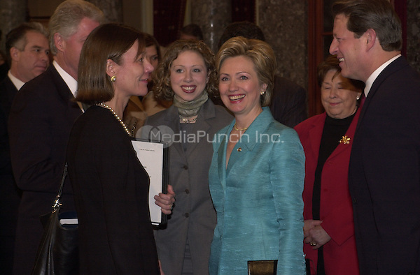 Washington, DC - January 3, 2001 -- First Lady Hillary Rodham Clinton is all smiles after she was sworn-in as U.S. Senator from New York..Credit: Ron Sachs / CNP/MediaPunch