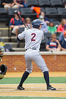 John La Prise (2) of the Virginia Cavaliers at bat against the Wake Forest Demon Deacons at Wake Forest Baseball Park on May 17, 2014 in Winston-Salem, North Carolina.  The Demon Deacons defeated the Cavaliers 4-3.  (Brian Westerholt/Four Seam Images)