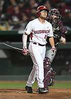NWA Democrat-Gazette/ANDY SHUPE<br />Arkansas right fielder Jake Arledge strikes out against Mississippi State Friday, March 17, 2017, during the eighth inning at Baum Stadium in Fayetteville. Visit nwadg.com/photos to see more photographs from the game.
