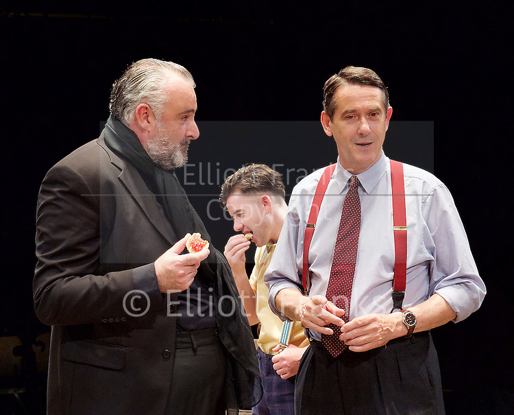 Orson&rsquo;s Shadow by Austin Pendleton<br /> at Southwark Playhouse, London, Great Britain <br /> press photocall <br /> 1st July 2015 <br /> <br /> John Hodgkinson as Orson Welles<br /> Ciaran O&rsquo;Brien as Sean<br /> Adrian Lukis as Laurence Olivier<br /> <br /> <br /> <br /> Photograph by Elliott Franks <br /> Image licensed to Elliott Franks Photography Services