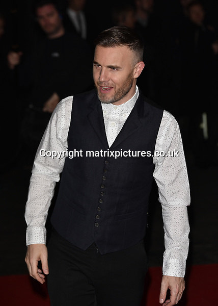 NON EXCLUSIVE PICTURE: MATRIXPICTURES.CO.UK<br /> PLEASE CREDIT ALL USES<br /> <br /> WORLD RIGHTS<br /> <br /> English singer-songwriter and Take That member, Gary Barlow attending The BRIT Awards 2015 Universal Music afterparty, at The Old Sorting Office in London. <br /> <br /> FEBRUARY 25th 2015<br /> <br /> REF: SLI 15637