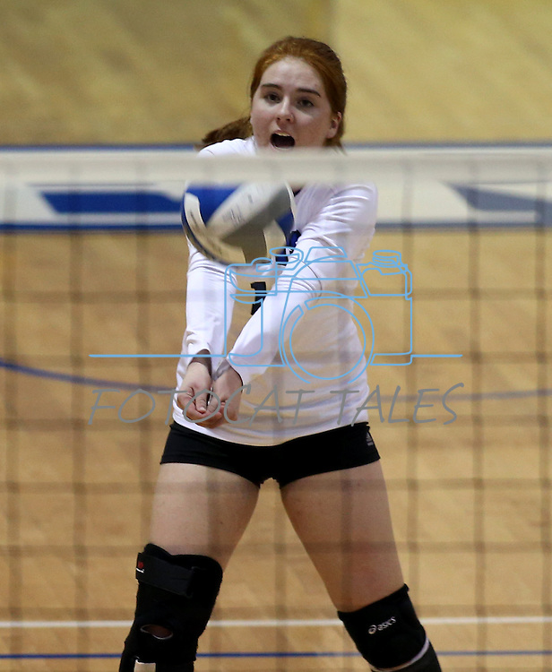 Marymount's Cassidie Watson passes during a college volleyball match at Washington & Lee University Lexington, Vir., on Saturday, Oct. 5, 2013.<br /> Photo by Cathleen Allison