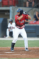 Abraham Toro (34) of the Buies Creek Astros at bat during the 2018 Carolina League All-Star Classic at Five County Stadium on June 19, 2018 in Zebulon, North Carolina. The South All-Stars defeated the North All-Stars 7-6.  (Brian Westerholt/Four Seam Images)