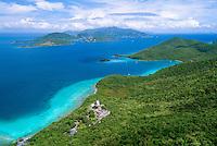 Aerial view of St John's Leinster Bay<br /> showing Annaberg Plantation<br /> British Virgin Islands in the backround<br /> U.S. Virgin Islands