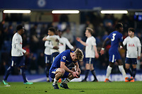 Luke McCormack of Chelsea shows his despair at the final whistle as Tottenham celebrate their victory in the background during Chelsea Under-23 vs Tottenham Hotspur Under-23, Premier League 2 Football at Stamford Bridge on 13th April 2018