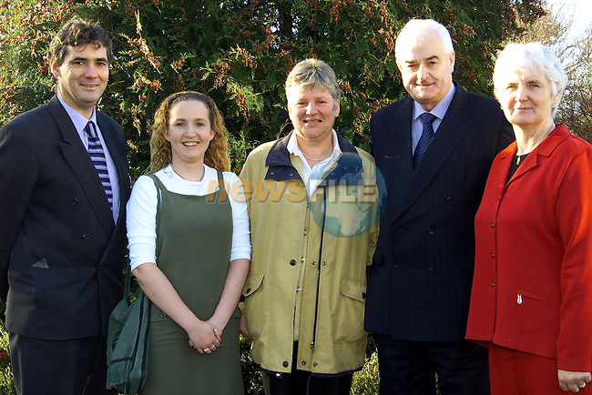 Graduates Gabrielle Brodigan and Linda Flemming with Chris Douglas, Minister Ned O'Keeffe and Mary Scully, national treasurer ICA at the ICA Prizegiving Day in An Grianan..Picture: Paul Mohan/Newsfile
