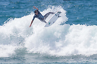 Huntington Beach, CA - Saturday August 4, 2018: Cam Richards in action during a World Surf League (WSL) Qualifying Series (QS) Men's Round of 16 heat at the 2018 Vans U.S. Open of Surfing on South side of the Huntington Beach pier.