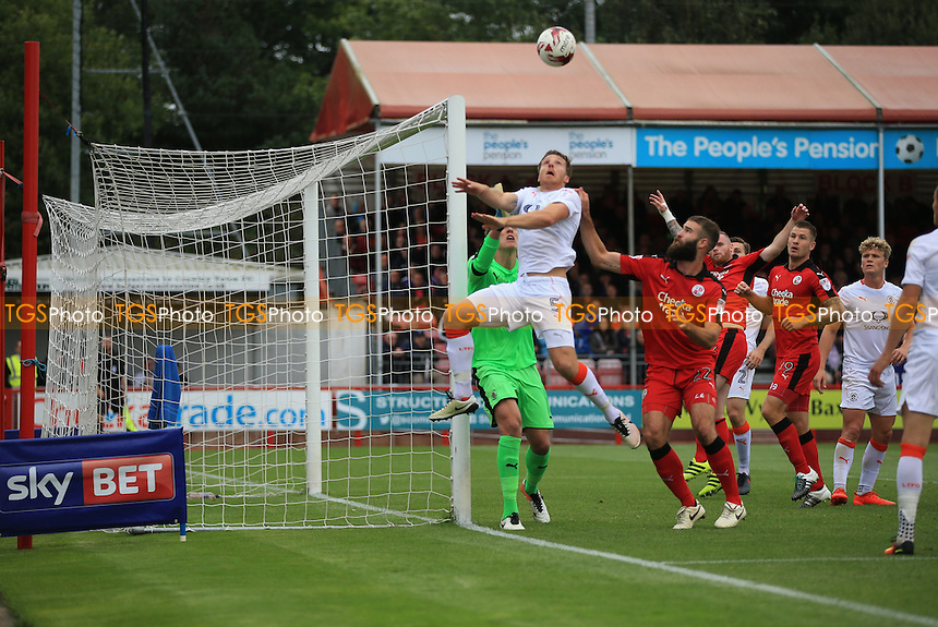 Johnny Mullins of Luton Town heads away from danger during Crawley Town vs Luton Town, Sky Bet EFL League 2 Football at Broadfield Stadium on 17th September 2016