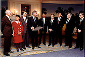 United States President Bill Clinton meets with the crew of the Space Shuttle DISCOVERY, STS-95 in the Diplomatic Reception Room at the White House in Washington, D.C. on January 8, 1999.   Left to Right: John Glenn, Chiki Mukai, Scott Parazynski, President Clinton, Stephen Robinson, Steven Lindsey, Curtis Brown (STS-95 Commander), NASA Administrator Dan Golden, Director of OSTP Dr. Neal Lane..Mandatory Credit Sharon Farmer - The White House via CNP