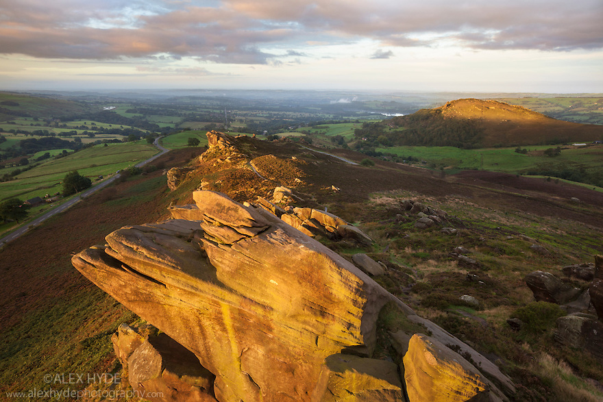 Ramshaw Rocks and Hen Cloud, part of a gritstone escarpment that flanks the south-western edge of the Peak District. Staffordshire, Peak District National Park, UK. September.