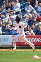 New York Yankees second baseman Starlin Castro (14) running the bases during a Spring Training game against the Detroit Tigers on March 2, 2016 at George M. Steinbrenner Field in Tampa, Florida.  New York defeated Detroit 10-9.  (Mike Janes/Four Seam Images)