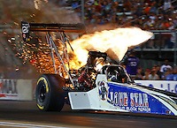 Jun 17, 2016; Bristol, TN, USA; NHRA top fuel driver Terry Haddock loses a fuel line causing an engine fire during qualifying for the Thunder Valley Nationals at Bristol Dragway. Mandatory Credit: Mark J. Rebilas-USA TODAY Sports