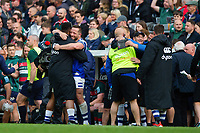 Bath Rugby players and staff celebrate at the final whistle. Gallagher Premiership match, between Leicester Tigers and Bath Rugby on May 18, 2019 at Welford Road in Leicester, England. Photo by: Patrick Khachfe / Onside Images